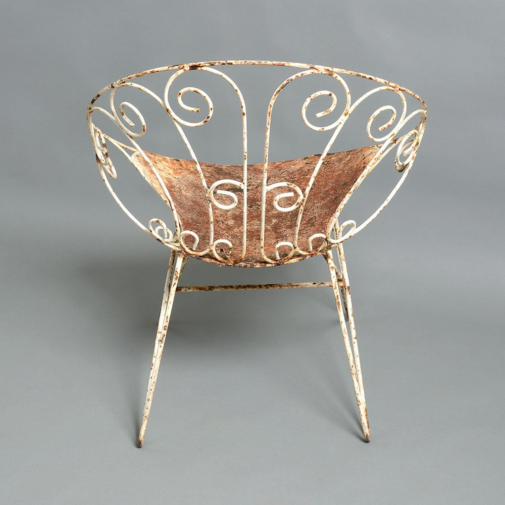 Pair Of Painted Cast Iron Mid Century Garden Chairs At 1stdibs