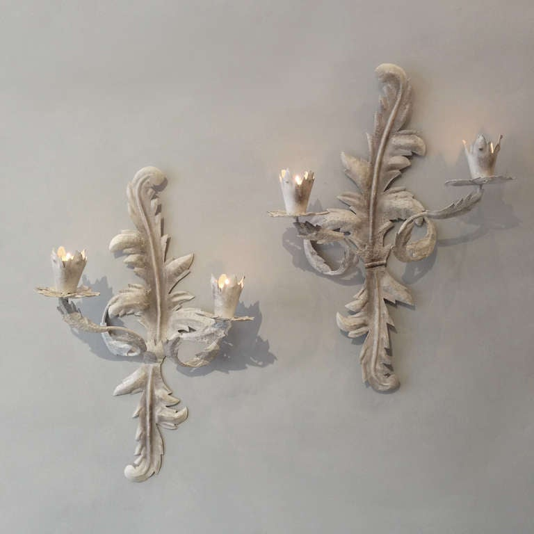 20th century pair of grey painted tole two arm rococo wall lights or a pair of tole wall lights in the rococo manner having two arms with candle aloadofball Gallery