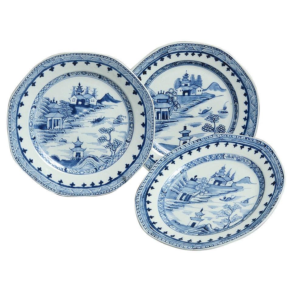 Set of Three 18th Century Chinese Export Plates