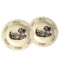 Pair of Late 18th Century Staffordshire Creamware Plates