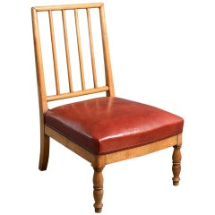 Early 19th Century Louis Philippe Birchwood Low Seat or Nursing Chair