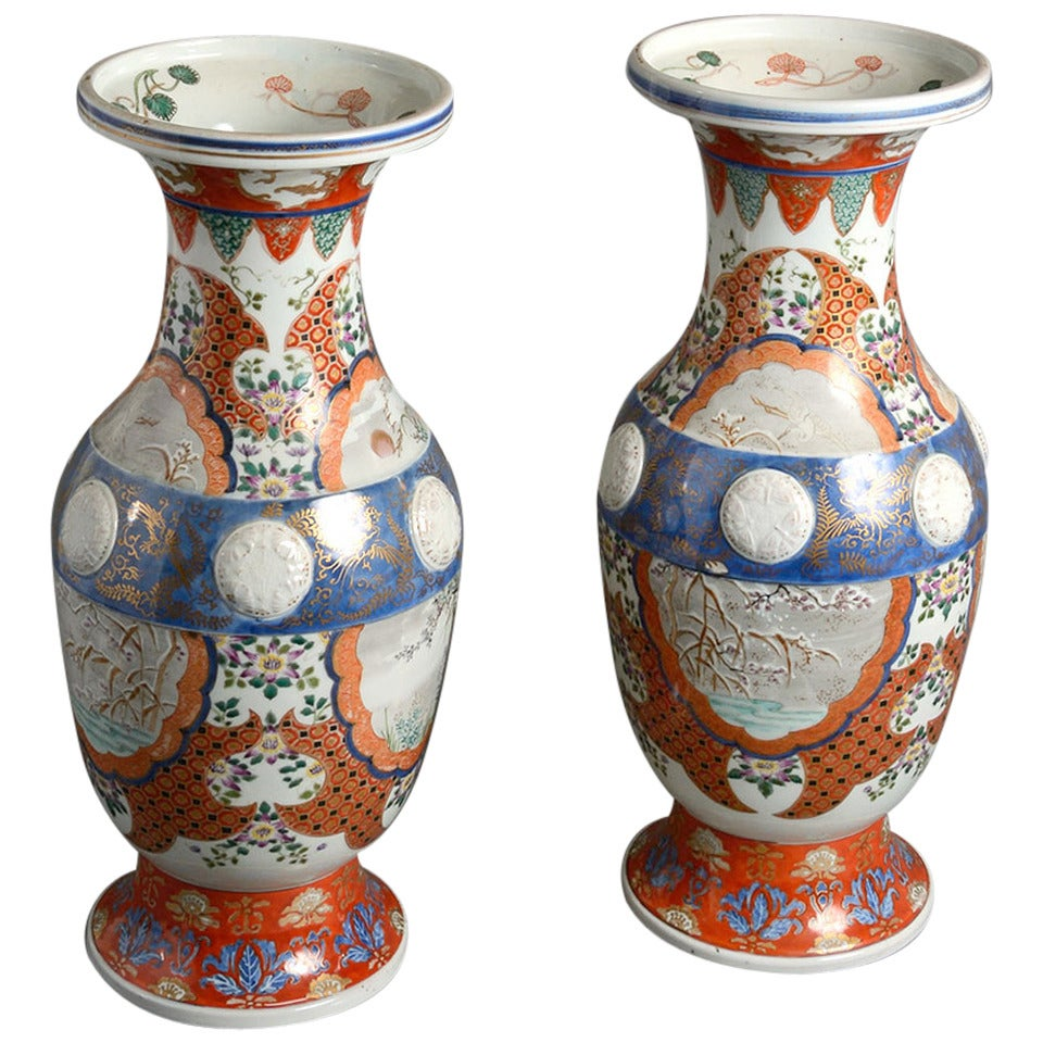 Pair Of 19th Century Imari Porcelain Vases For Sale At 1stdibs