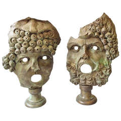 A Pair of Mid 20th Century Large Bronze Classical Masks