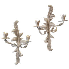 20th Century Pair of Grey Painted Tole Two-Arm Rococo Wall Lights or Appliqués