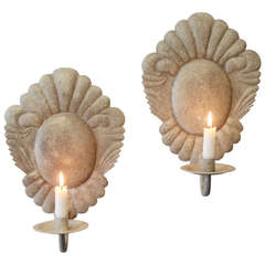 Pair of 20th Century Louis XV Style Grey Painted Cartouche Wall Lights