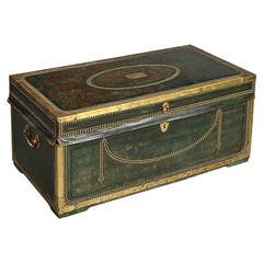 19th Century Chinese Export Leather and Brass Trunk