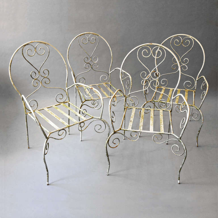 Set Of Four Painted Cast And Wrought Iron Garden Chairs At 1stdibs