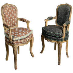 Pair of 18th Century Louis XV Period Child's Chairs