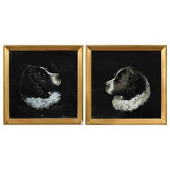 Charming Pair of 19th Century Reverse Glass Dog Portraits