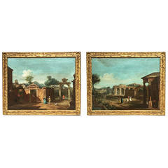 Pair of Capriccio Landscapes with Figures and Ruins