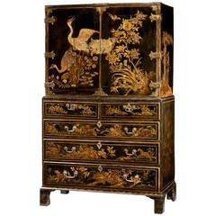 Charles II Period Lacquered Cabinet On Chest