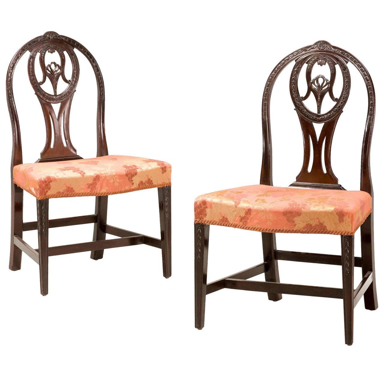 Pair of george iii irish mahogany side chairs for sale at for Side chairs for sale