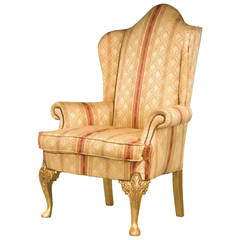 19th Century Giltwood Wing Chair