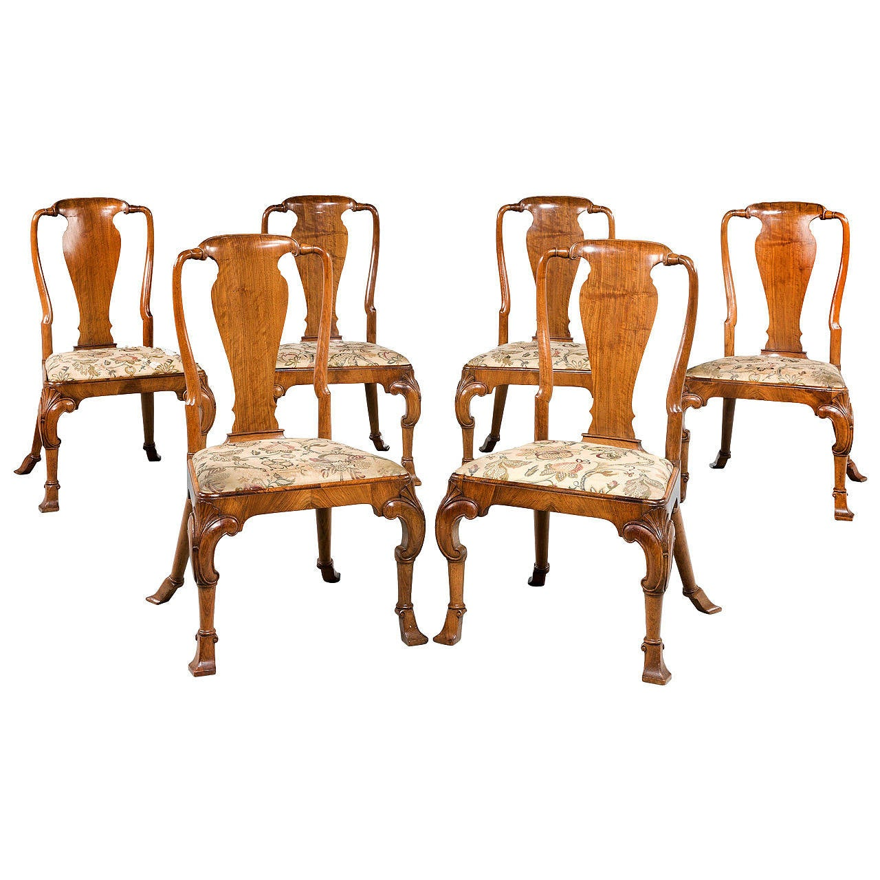 Set Of Six Late 19th Century Queen Anne Style Chairs For