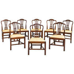 Eight George III Period Dining Chairs with Camel Shaped Backs