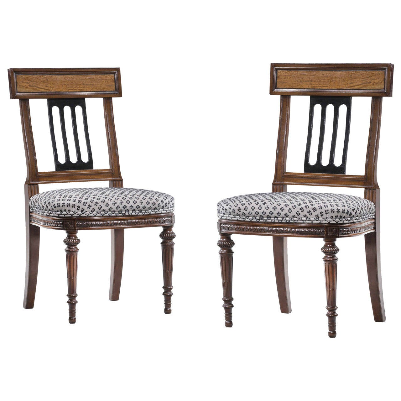 Set of Ten 19th Century Mahogany and Satinwood Dining Chairs For Sale