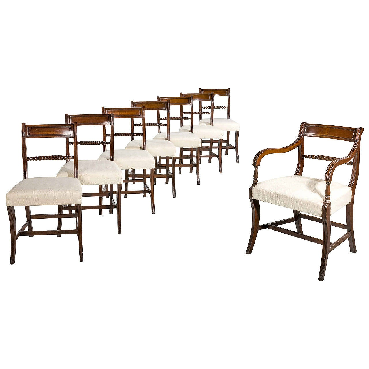 Set of eight regency dining room chairs at 1stdibs for Regency dining room