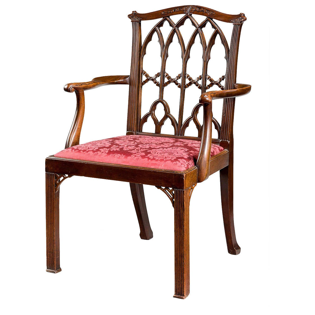 Chippendale Design Armchair with Fine Gothic Details