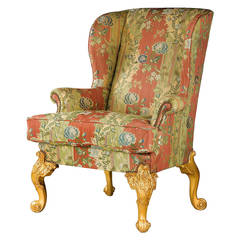 Finely Carved 19th Century Giltwood Wing Chair