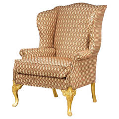Mid-18th Century Design Giltwood Wing Chair