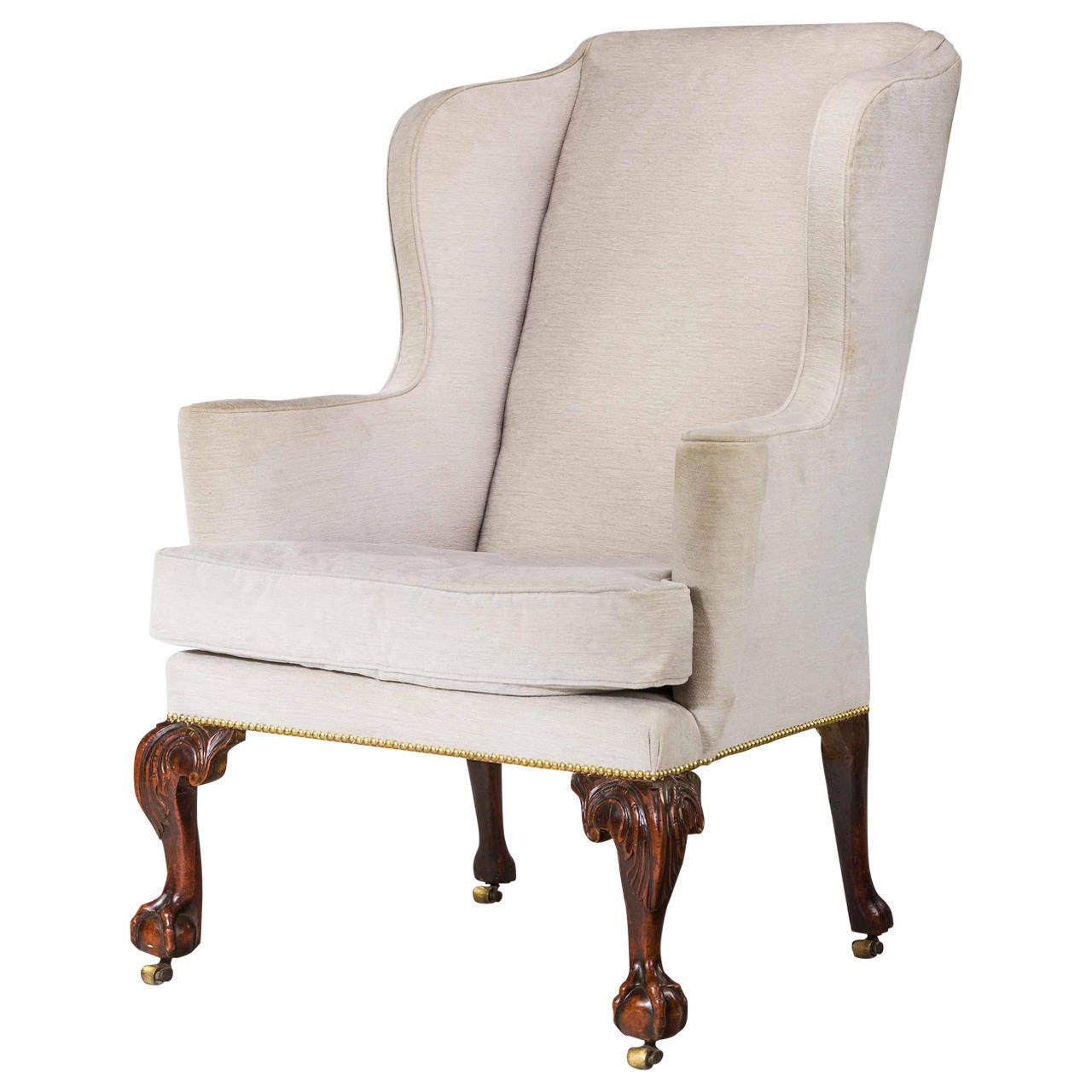 george ii period walnut framed wing chair with cabriole. Black Bedroom Furniture Sets. Home Design Ideas
