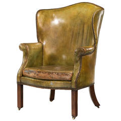 George III Period Wing Chair in Green Leather
