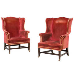 Pair of Chippendale Design Wing Chairs
