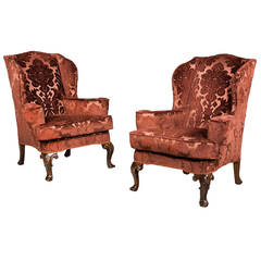 Pair of 19th Century Upholstered Wing Chairs
