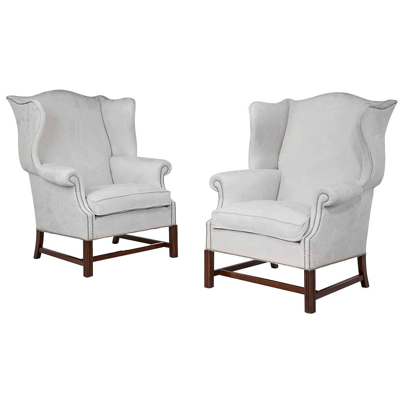 Pair of Mahogany Framed Wing Chairs For Sale at 1stdibs