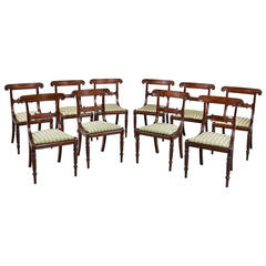 A Set of Ten ( Six +Four ) Regency Period Mahogany Framed Chairs