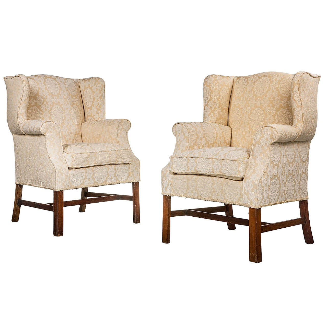 Pair of George III Style Wing Chairs For Sale at 1stdibs