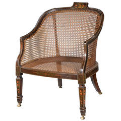 19th Century Ebonized and Painted Bergere Chair