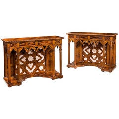 Pair of 19th Century Gothic Pier Tables