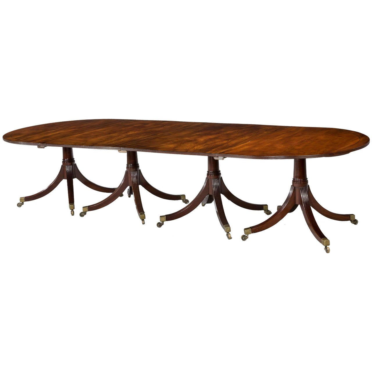 Fine george iii period mahogany four pillar dining table for Pillar dining table