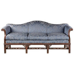 Chippendale Style Mahogany Framed Camel Back Sofa
