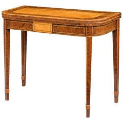 Late 18th Century Burr Yew and Burr Elm Card Table
