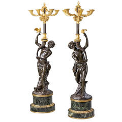 Pair of 19th Century Italian Bronze Candelabra
