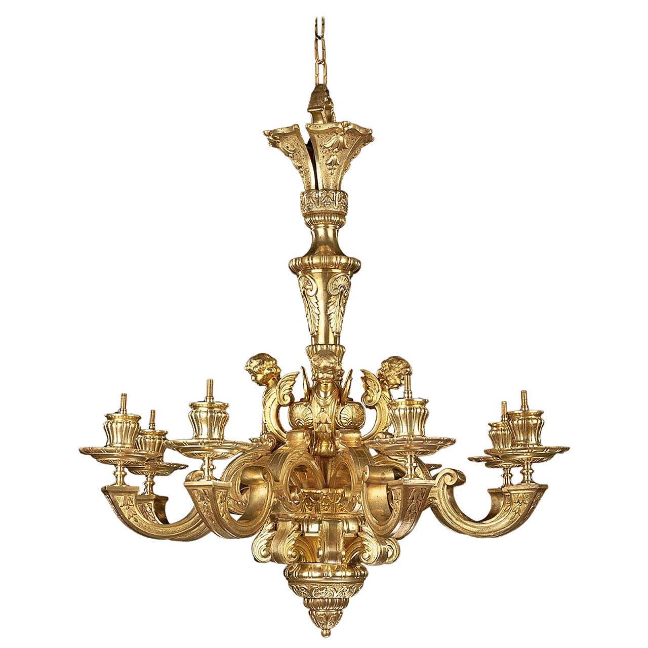Late 19th Century Gilt Bronze Chandelier