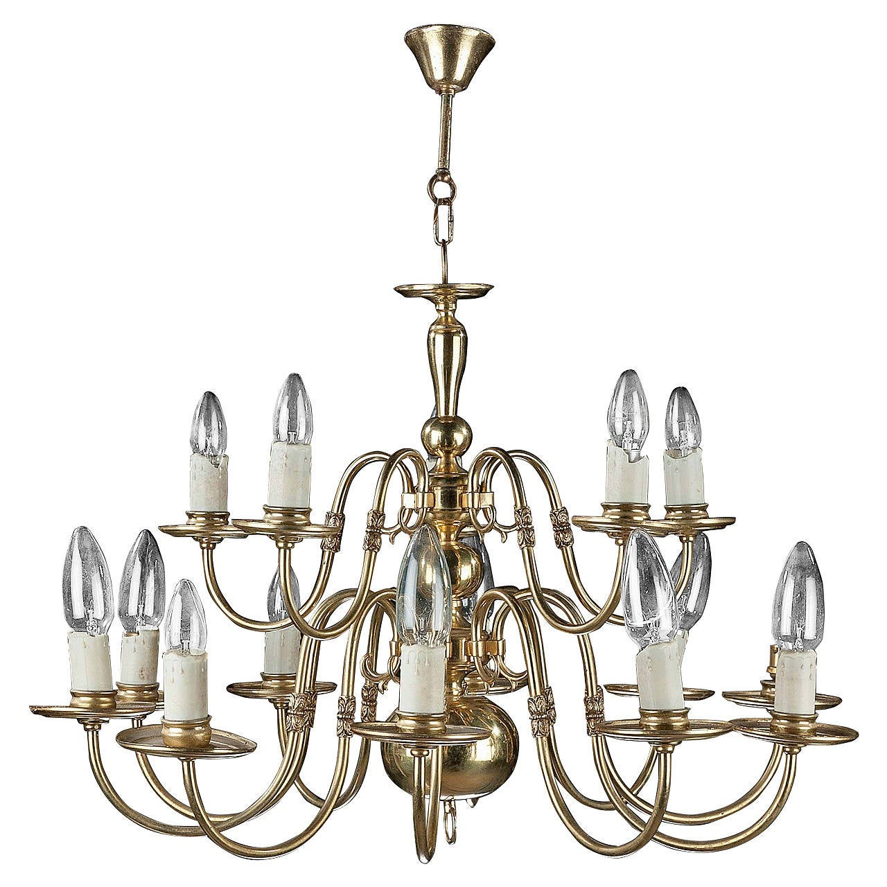 Twelve-Arm, Tiered Brass Chandelier