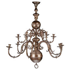 Two-Tiered Bronze, Twelve-Arm Chandelier