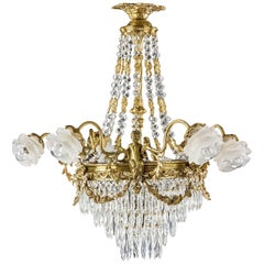Late 19th Century Gilt Bronze and Cut-Glass, Six-Arm Chandelier