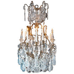 Late 19th Century Bronze and Cut-Glass Chandelier