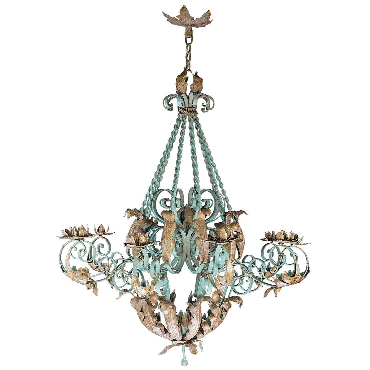 Early 20th Century Polychrome Wrought Iron Chandelier