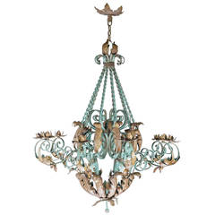 early 20th century polychrome wrought iron chandelier - Wrought Iron Chandelier