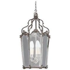 Late 20th Century Silvered Bronze Lantern