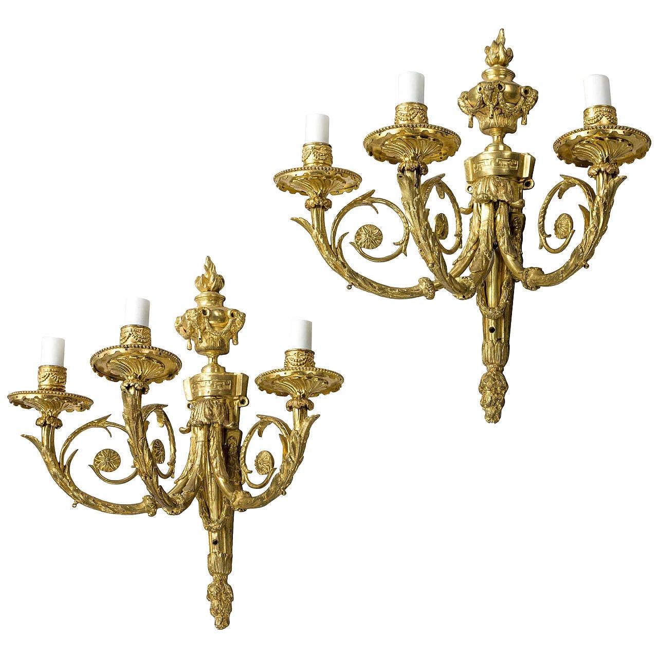 Pair of Three-Arm Late 19th Century Wall Lights