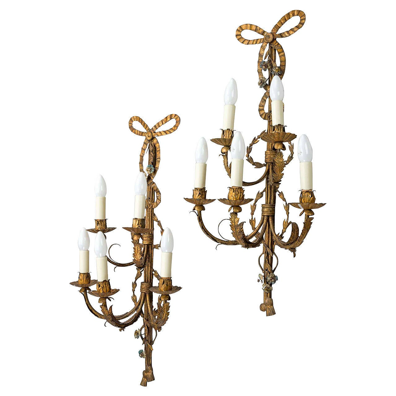 Large Bulb Wall Lights : Pair of Large Gilt Bronze Wall Lights For Sale at 1stdibs