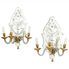 Pair of Late 19th Century Three-Arm Wall Lights