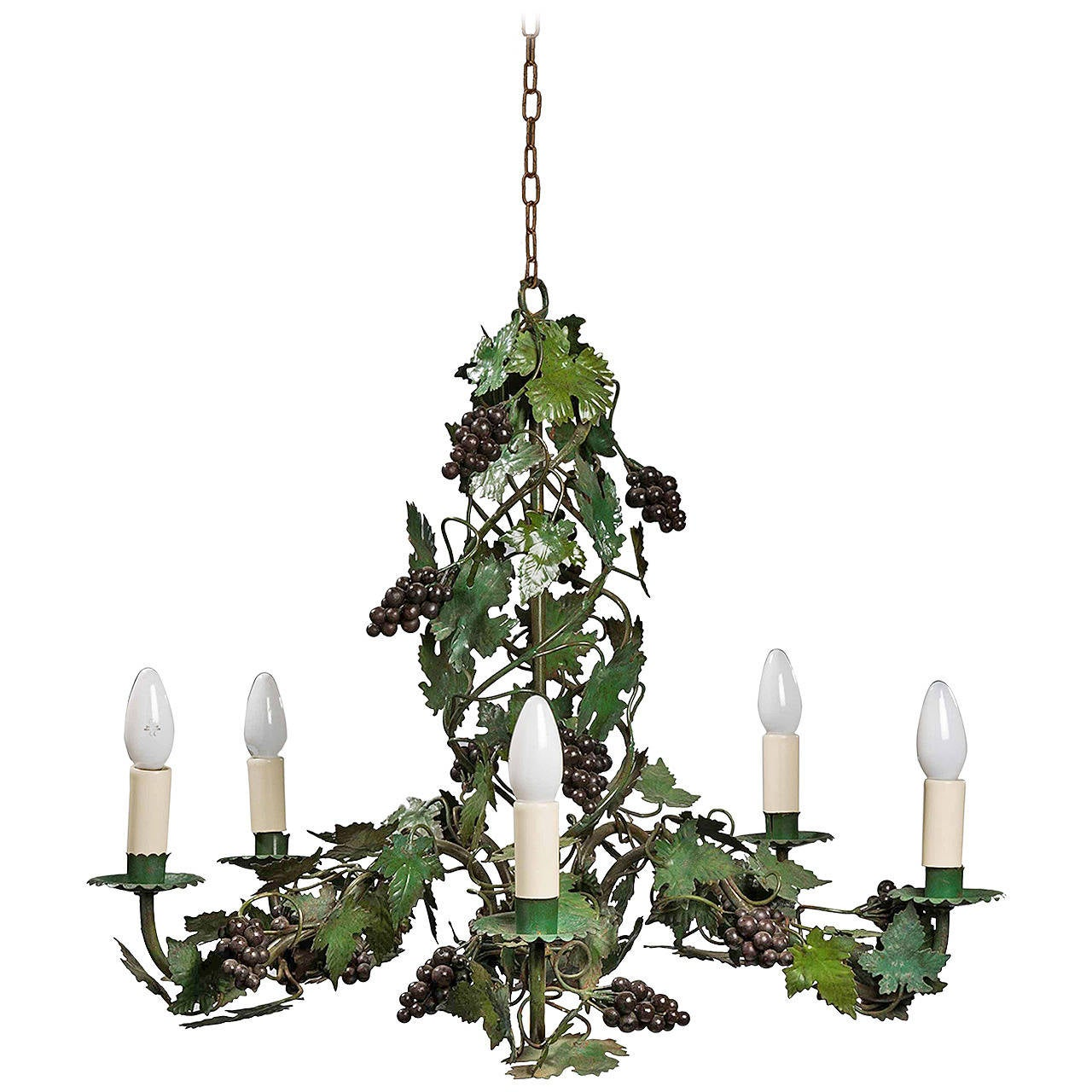 Late 19th Century Green Tole Chandelier
