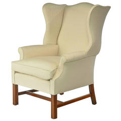 Chippendale Style Mahogany Framed Wing Chair